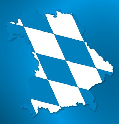 Symbolische Karten Bayern weiß blau